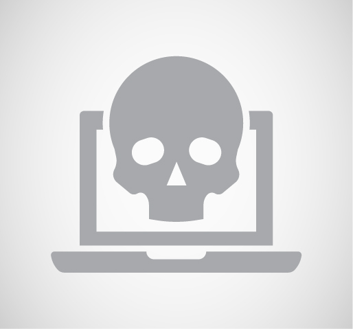 Cartoon of a silhouette skull coming out from a computer screen