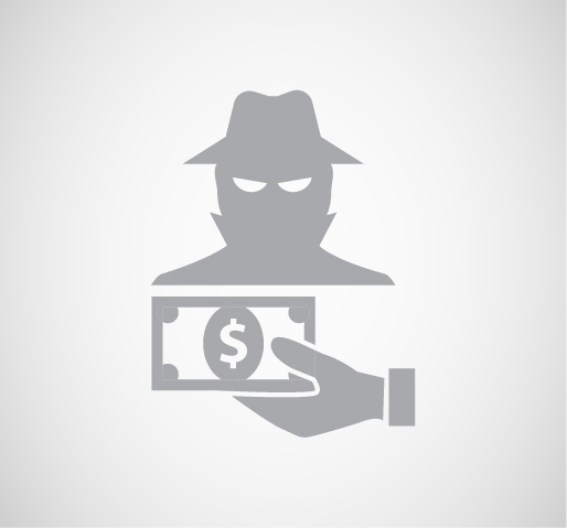 silhouette of a hand giving money to a sketchy person with mean intentions