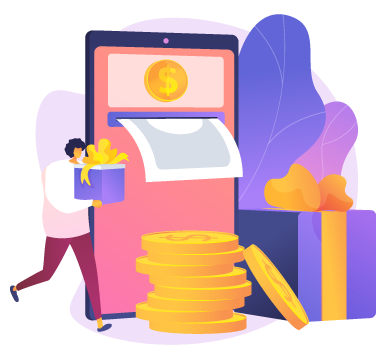 illustration of woman holding gift walking next to atm and stack of coins