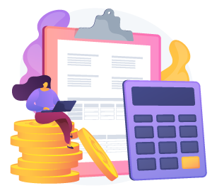 illustration of woman figure sitting on stack of coins with calculator and clipboard behind her on purple and yellow abstract background