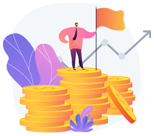 illustration of man standing on top of stack of coins holding a flag against upwards trending graph line on top of purple and pink abstract background