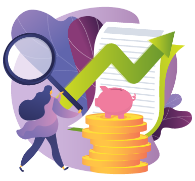 illustration of woman holding oversized magnifying glass looking at stack of coins with piggy bank on top and document with green upward trending line graph against purple abstract background