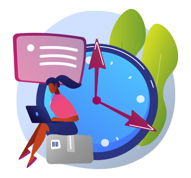 Illustration of a lady sitting on a computer in front of a giant clock