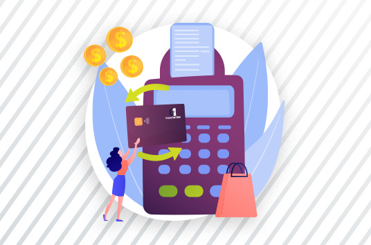 Illustration of a woman holding a debit card in front of a giant register