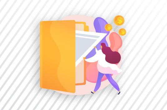 Cartoon of a female putting a paper inside a folder