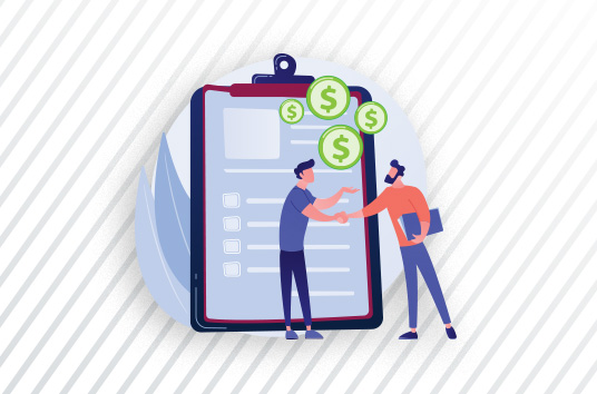 illustration of two men shaking hands with green coins above their heads against background of clipboard