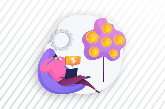 illustration of man sitting on chair with laptop with gear and tree with coins in the background