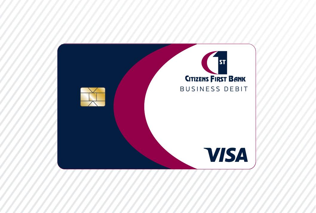 Business debit card art on white pinstripe