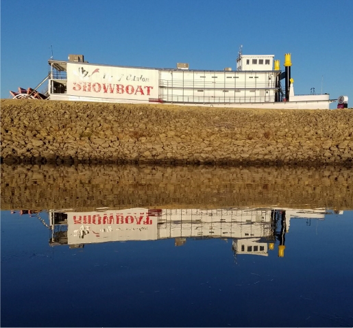 Showboat Theatre in Clinton, Iowa reflecting on the Mississippi River