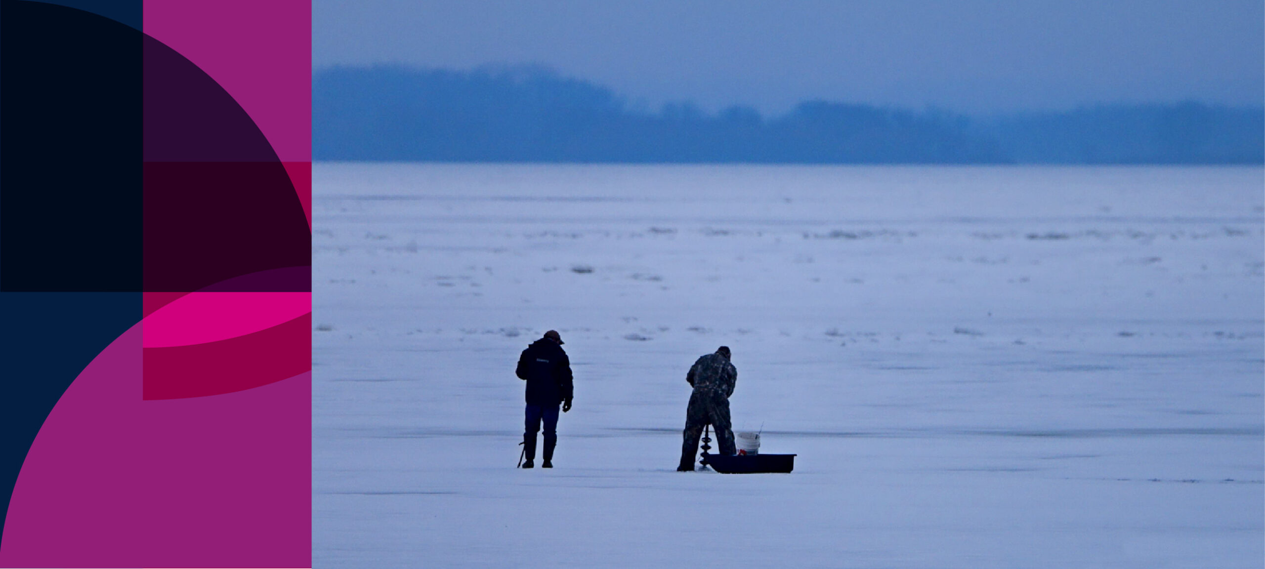 Two men ice-fishing on the Mississippi River, Clinton County, Iowa