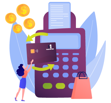 illustration of woman holding up credit card to card machine against blue leaf background