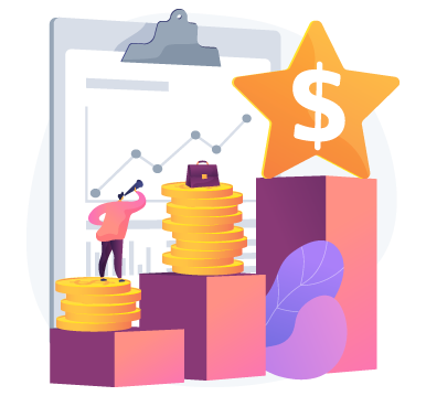 illustration of person standing on stack of coins looking at upwards trending chart with star and money sign on a block